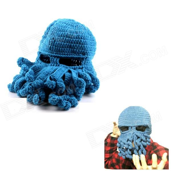 PANNOVO Hand-made Cute Octopus Outdoor Thermal Windproof Caddice Balaclava Helmet Cap Hat - Sky Blue