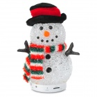 S18 Cute Snowman Style Bluetooth Speaker w/ TF / LED Light - White + Red (8G Max.)