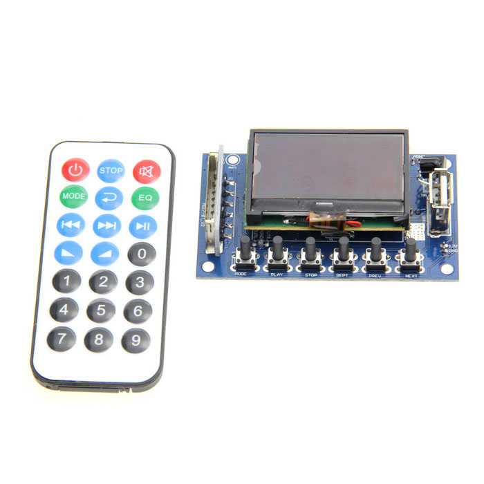 "LSON 12V 2.0"" Lattice Screen Recording Bluetooth FM MP3 / WMA Decoding Module - Deep Blue"