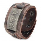 UBE UTY 7023 Shield Pattern Retro Style Men's Wide Bracelet - Brown + Bronze