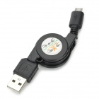 CUS01 USB Female to Micro USB Male Retractable Data Cable - Black (75cm)