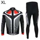 ARSUXEO C02 Outdoor Cycling Lycra Long Sleeve Sport Suit - Black + White (XL)