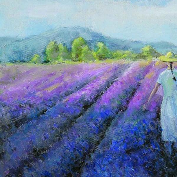 Pretty Girl In The Lavender Field Oil Painting