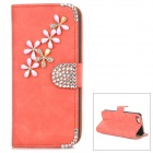 PUDINI WB-ZHI5S Flowers Pattern PU Flip-Open Case w/ Stand Iphone 5 / 5s - Reddish Orange