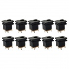 Jtron DC Power Outlet / Switch Socket - Black (10 PCS)