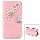 PUDINI WB-ZHI5S Flower Pattern PU + Metal + Rhinestones Case w/ Stand for Iphone 5 / 5s - Pink