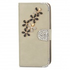 PUDINI WB-ZHI5S Flowers Pattern PU Flip-Open Case w/ Stand Iphone 5 / 5s - Khaki