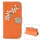 PUDINI WB-ZHI5S Flower Style Protective PU Leather + Rhinestone Case for Iphone 5 - Orange