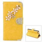 PUDINI WB-ZHI5S Flower Style Protective PU Leather + Rhinestone Case for Iphone 5 - Yellow