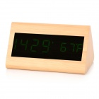Triangle Style Voice Control Desktop Alarm Clock w/ LED Display - Wood Color + Black