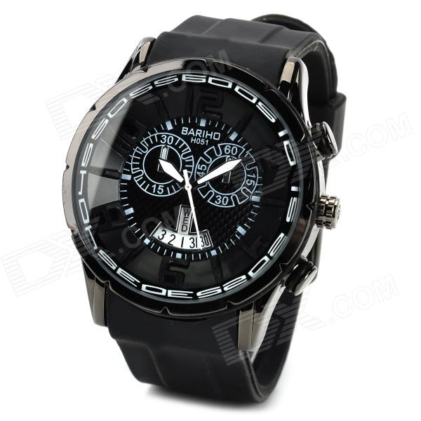 BARIHO H051 Retro Zinc Alloy PU Band Quartz Analog Wrist Watch w/ Calendar for Men - Black (1 x 626)