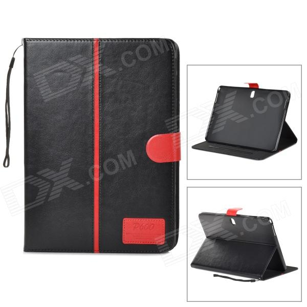 Protective Flip-open PU Case for Samsung Galaxy Note 10.1 P600 - Black + Red metal ring holder combo phone bag luxury shockproof case for samsung galaxy note 8