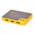 LJH-310 4-Port USB 3.0 Hub w/ Indicator - Yellow + Light Brown