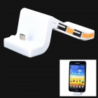 Multifunction Micro USB Charging Dock + 3 Port USB HUB for Samsung + HTC + More - White