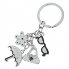 Fashionable Stainless Steel Keychain - Silver + White + Black (2 PCS)