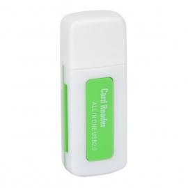 4-in-1 USB 2.0 TF / SD / MS Memory Card Reader - Grass Green + White