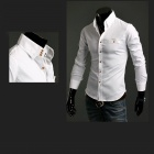 9001 Pure Color Men's Slim Fit Long Sleeve T-Shirt - White (Size-L)