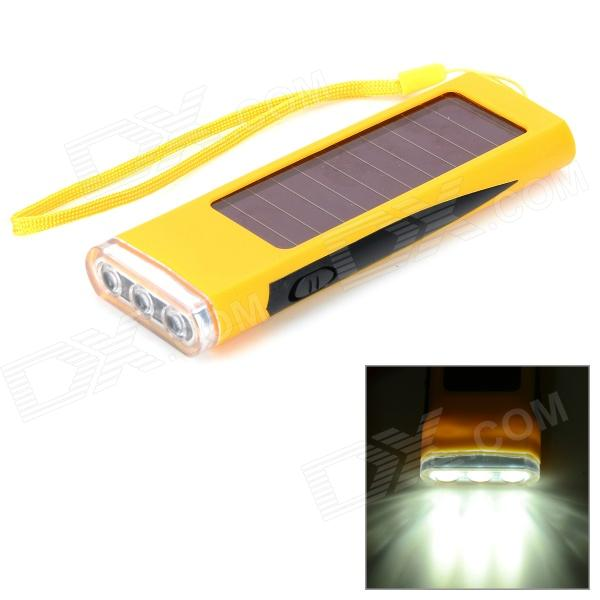 800mAh Solar Energy Powered Charger w/ 3-LED Flashlight - Grey Yellow + Black