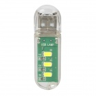 USB Flash Drive Style USB Powered 1.7W 22lm 3-LED White Light - Transparent + Green