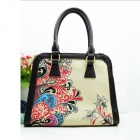 BIEYANG B-59-Flower Retro Flower Leisure Hand Bags - Khaki + Black