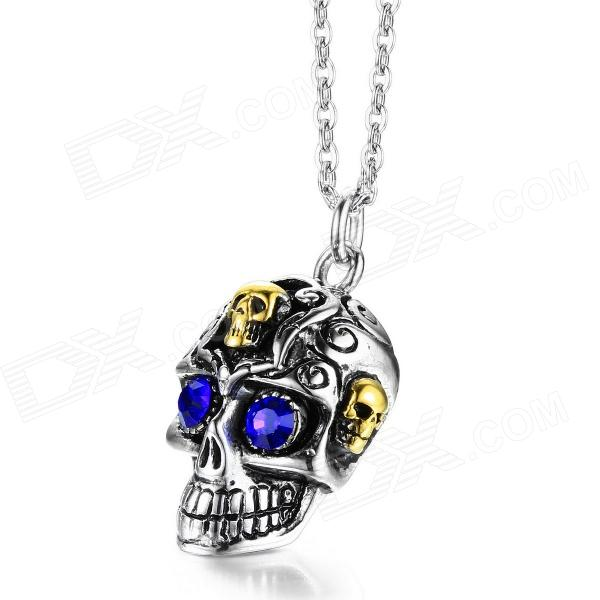 EQute PSSM9C5 316L Stainless Steel Blue Eye Skull Pendant w/ O Chain Necklace (20) black red yellow blue skull design stainless steel tattoo foot pedal switch footswitch power supply