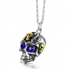"EQute PSSM9C5 316L Stainless Steel Blue Eye Skull Pendant w/ O Chain Necklace (20"")"