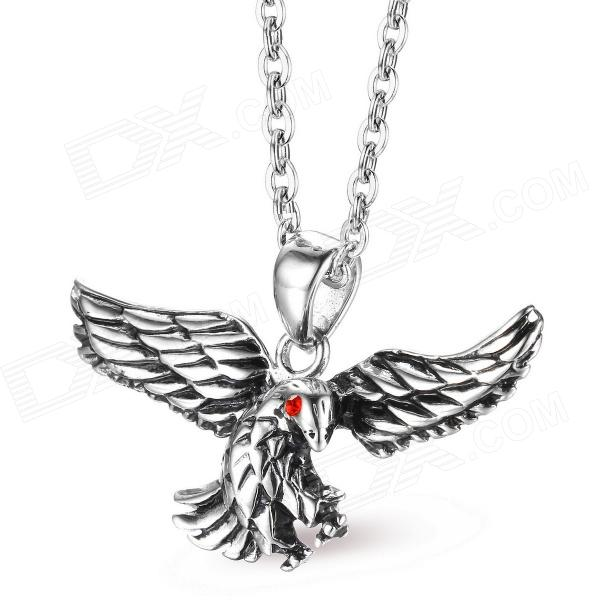 EQute PSSM11C1 Fashion 316L Stainless Steel Red Eye Black Eagle Pendant w/ O Chain Necklace (20) customized authentic 316 316l marine grade stainless steel machinery shoulder lifting eye bolt 316 ss