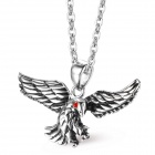 "EQute PSSM11C1 Fashion 316L Stainless Steel Red Eye Black Eagle Pendant w/ O Chain Necklace (20"")"