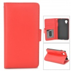 Stylish Protective PU Leather Case w/ Card Holder Slots for LG Nexus 5 - Red