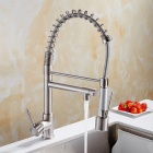 YDL-F-0530 Contemporary Nickel Brushed Finish Single Handle LED Pull-out Kitchen Faucet - Silver