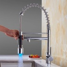 YDL-F-0531 Contemporary Chrome Finish Single Handle LED Pull-out Kitchen Faucet - Silver