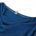 Fashion Cotton Long-Sleeve Loose Shirt for Women - Navy Blue + White (M)