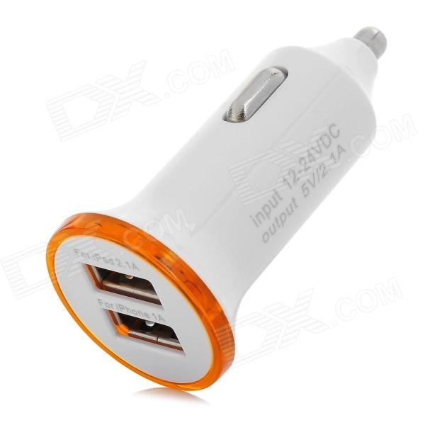 Dual USB 2.0 5V 2.1A / 1A Car Cigarette Lighter Charger w/ LED - White + Orange (12~24V)