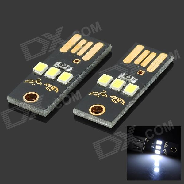 exLED ultrafinos USB 2.0 0.2W 22lm 3-LED Branco Mobile Power Luz USB - Preto (2 PCS)
