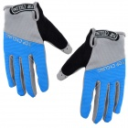 TOPCYCLING TOP901 Outdoor Sports Anti-slip Cycling Full-finger Gloves - Blue + Grey (Size XL)