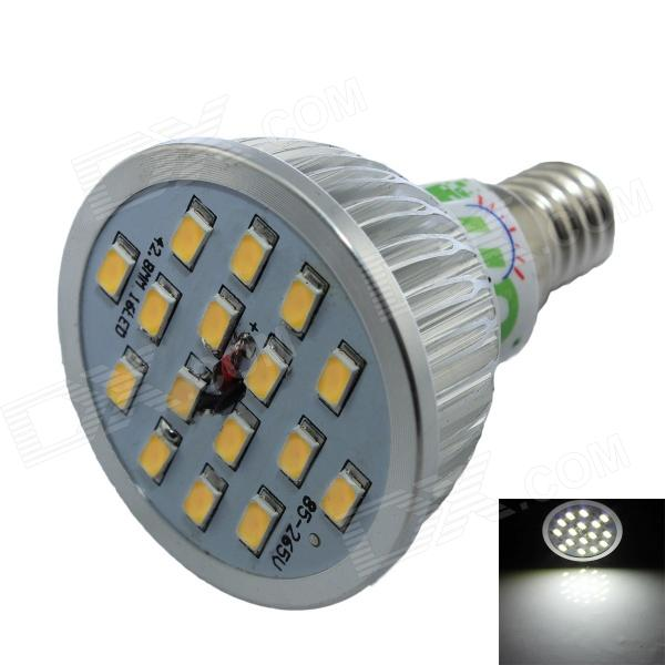 LUO E14 7W 600lm 6500K 16 x SMD 5630 LED White Spotlight Bulb - Silver + White (AC 85~265V) lexing e14 7w 540lm 14 smd 5730 led warm white light bulb ac 85 265v
