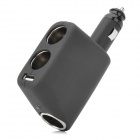 Shunwei SD-1908 3-Way Car Cigarette Lighter Socket Power Adapter w/ USB - Black (12~24V)