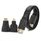 Flat 1080p HDMI Male to Male Cable + HDMI Female to Micro / Mini HDMI Male Adapter - Black (50cm)