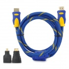 ENK-HH15 1080p HDMI V1.4 Male to Male Cable + HDMI Female to Micro / Mini HDMI Male Adapter - Blue