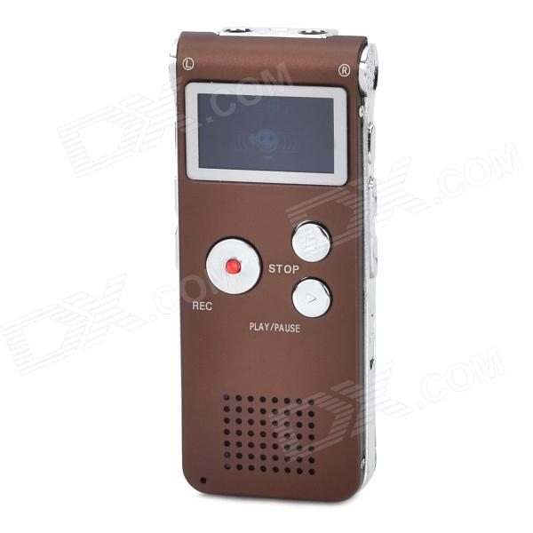 Thchi CM-011 Aluminum Alloy USB Digital Voice Recorder w/ SD / FM / Built-in Speaker - Coffee (8GB)