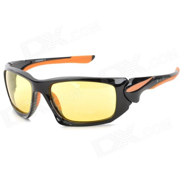 CARSHIRO XQ1277 Outdoor UV400 Protection PC Frame Resin Lens Polarized Sunglasses - Black + Orange carshiro 9150 uv400 protection resin lens polarized night vision driving glasses