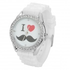 Moustache Pattern Zinc Alloy Silicone Band Quartz Analog Wrist Watch for Women - White + Silver