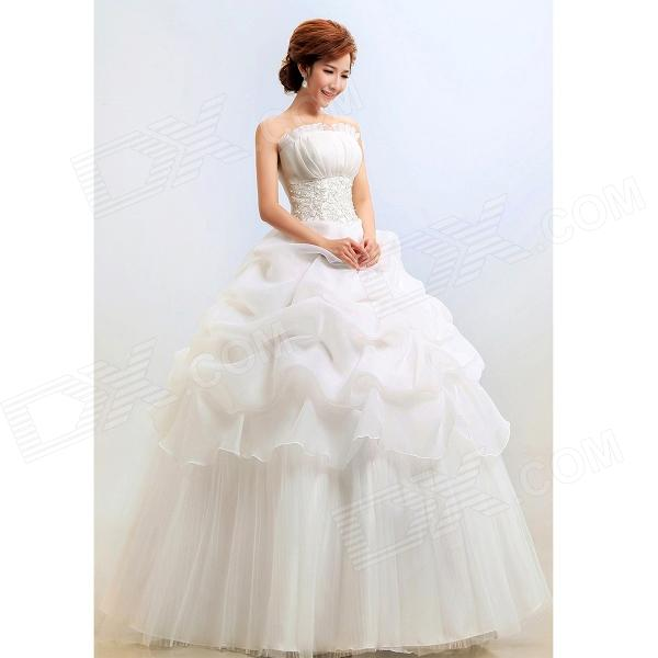 Fashion Yarn Fluffy Strapless Wedding Dress for Women - White (XL) women s fashionable fluffy strapless yarn wedding dress white size l