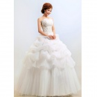 Fashion Yarn Fluffy Strapless Wedding Dress for Women - White (XL)