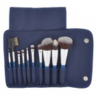 MSQ Professional 10-in-1 Kosmetik Make-up Pinsel Set - Blau + Silber