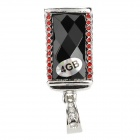 SZ-8 Keyring Zinc Alloy + Rhinestones USB 2.0 Flash Drive - Red + Silver + Black (4GB)