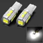 T10 3W 104lm 6000K 10-5630 SMD LED White Light Car Turn Signals - White + Silver (2 PCS / 12~24V)