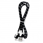 JJBY PVC Micro USB lading / Data kabel for mobiltelefoner - svart + hvit (100cm)