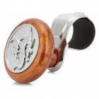 JM-801 Drag Pattern Plastic Car Steering Wheel Spinner Knob - Silver + Brown