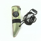 Multifunction Whistle w/ Thermometer / LED Lights / Compass / Magnifier - Camouflage Green